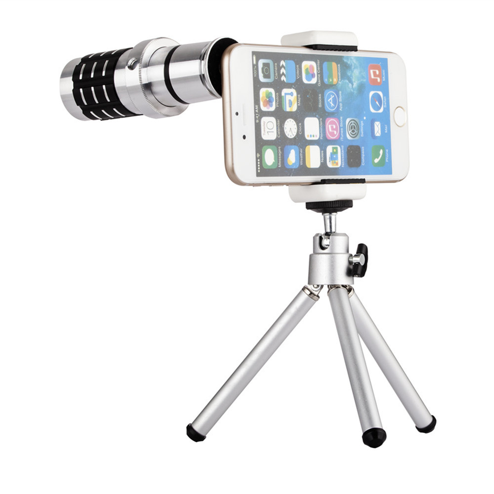 Universal Clip Camera Lens 12X Zoom Telephoto Phone Optical Lens Camera Telescope Len+Mount Tripod For iPhone Samsung All phone