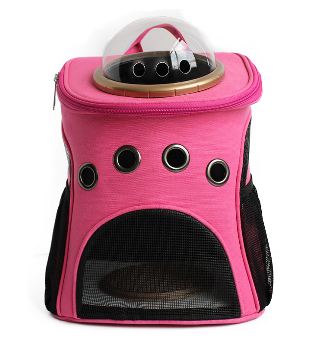 Lovely pink fashion cat carry bags high end pet dogs capsule carrier backpacks