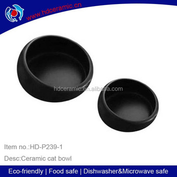 Hot Sale Ceramic Cat Pet Bowls ,ceramic pet bowl for dog and cat with solid black color