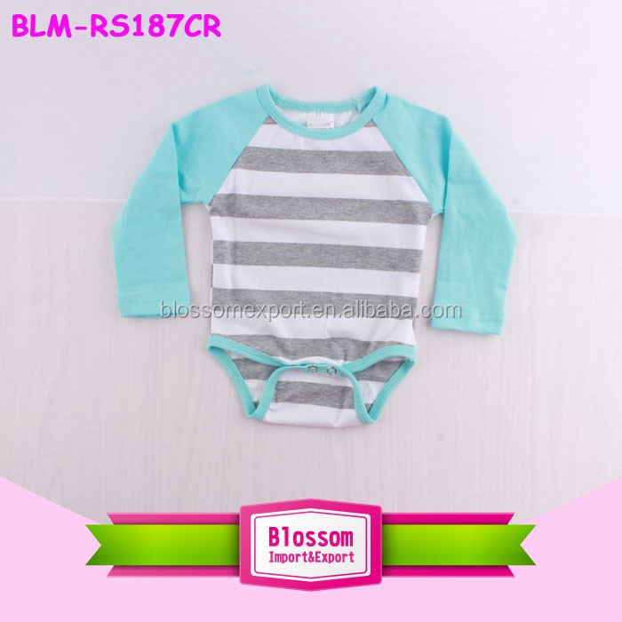 Long Sleeve Heather Grey Striped Color Print Baby Girls Clothes Romper Wholesale Baby Plain Bodysuit Raglan Onesie With Snaps