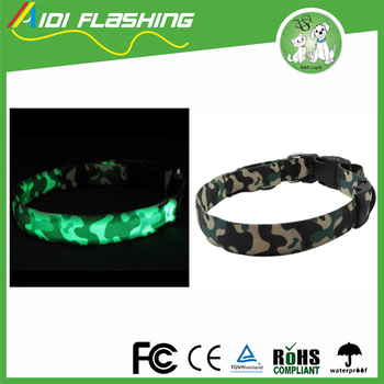 Comfortable New Design Camouflage USB Rechargeable Adjustable Night Safety LED Dog Collar For You and Your Dog Are Seen Safe