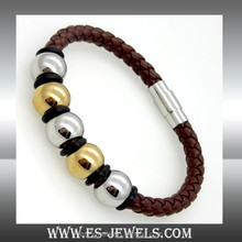 21cm Length Leather Woven Bracelet with Magnetic Buckle