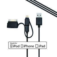 wholesale MFI certified for iphone android 3 in 1 usb cable black multi-function cables