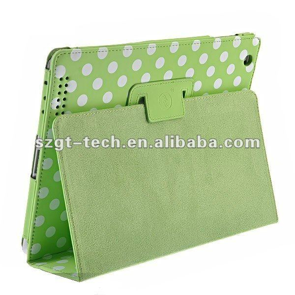 Polka Dots Folio PU leather Smart Cover Standing Case for Apple iPad3/2 and for new iPad multi-Colors