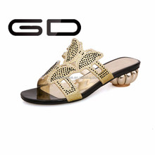 2015 new design shining gold PU soft sole women slippers