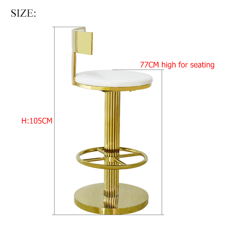Restaurant high back white gold round metal stainless steel bar stool chair