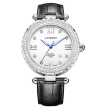 wrist watch women diamond with genuine leather strap