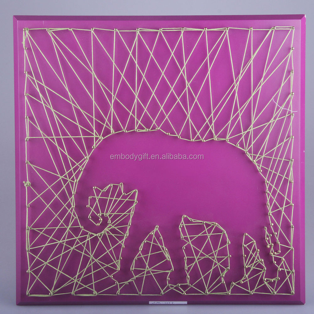 hand-made wooden string wall art with the elephant shaped design for home decoration