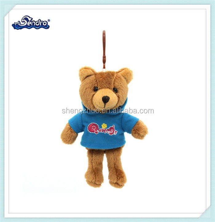 special gift lovely red stuffed teddy bear plush keychains for schoolbag