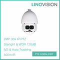 Full HD 2MP Auto-tracking and IVS 30x Star Light 500m IR Network PTZ Dome Camera