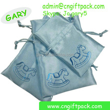 Custom printed satin drawstring gift bag fabric packaging