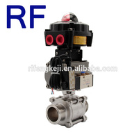 RF Sanitary Stainless Steel Pneumatic Actuator 3pc Ball valve with Explosion Proof Limit Switch