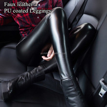 High waist faux leather fleece lined winter leggings black pu coated pants