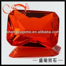 rectangle crystal cut corner ruby color glass stones (GLES-BR102)