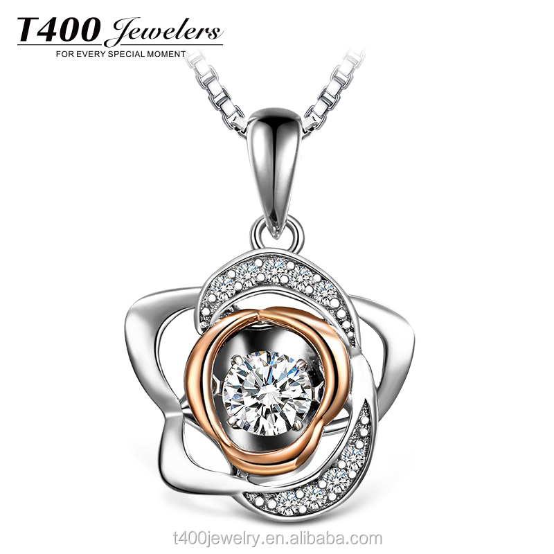 T400 dancing stone necklace make with swarovski zirconia 925 sterling silver
