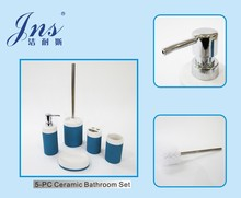 5 pcs blue and white ceramic wholesale ceramic bathroom set
