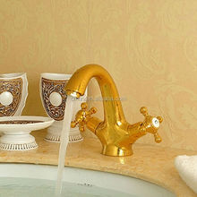 Double Cross Handle Gold Faucet 1062