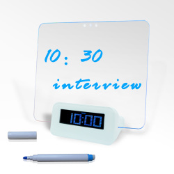 LED Fluorescent Message Board Digital Alarm Clock With 4 Port USB Hub Calendar