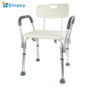 Tool free shower chair installation of the elderly bathroom bath with back and armrest aluminum bath chair