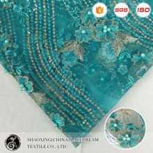 2017 luxury green handmade beaded lace embroidered netting fabric crystal heavy beaded lace fabric