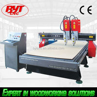 competitive price double head cnc router sculture in door wood