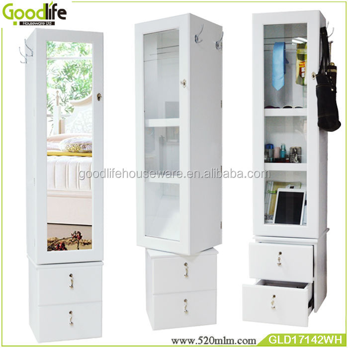Goodlife new 360 degree rotating two door mirrored jewelry cabinet