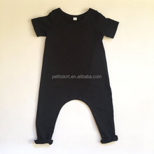 New Boutique Children Jumpsuit Plain Black Harem Romper Kid Summer Baby Short Sleeve Romper