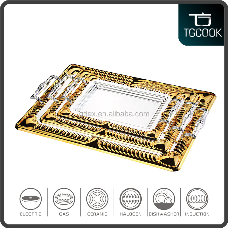 Wholesale stainless steel silver plated serving Tray with handle