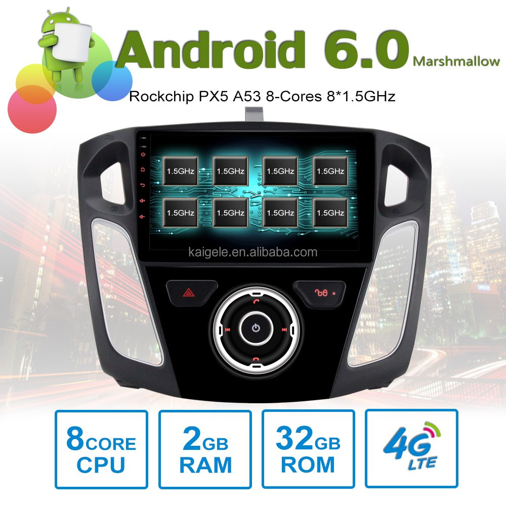 8 core Android6.0 octa core car stereo for Ford focus2012 GPS with 8 Cores 2GB RAM 32GB ROM support 4G SIM Card