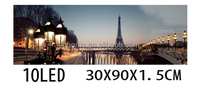Pairs Eiffel tower scenery led light frame flickering fabric painting picture with canvas
