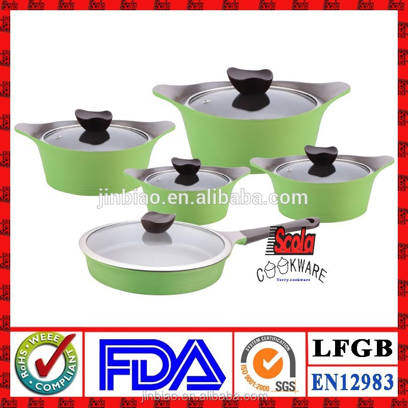 hot sell korea style 10pcs die casting aluminum korean ceramic cookware/soup pot /frying pan