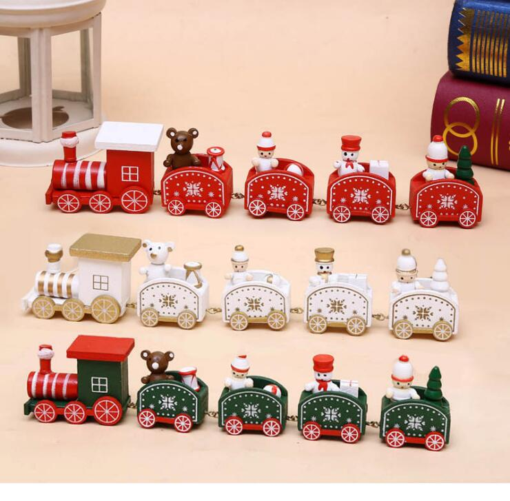 Christmas cartoon children gifts wooden small toy train window ornaments