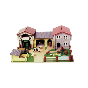 Wholesale chinese language educational toys custom wooden game pieces farm animal sets