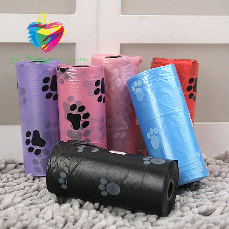 Alibaba China HDPE biodegradable plastic customized dog pet waste poop bags