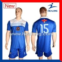 Healong dye-sublimation printing custom made heat transfer imprinting Soccer Jersey Made In Thailand RIB KNITTING