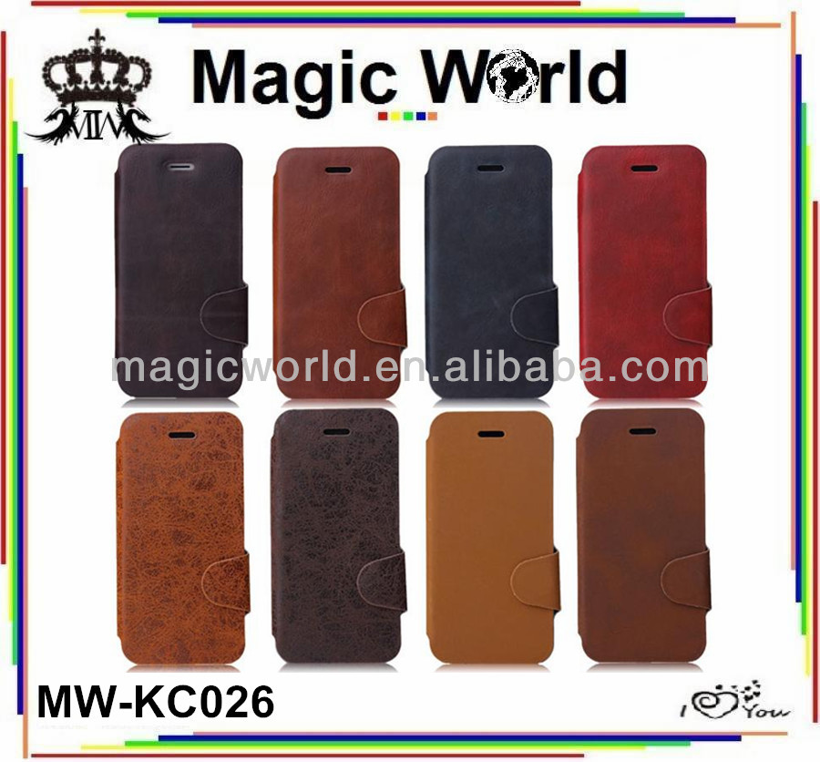 High Quality Flip Brown Black Leather Phone Case For Men