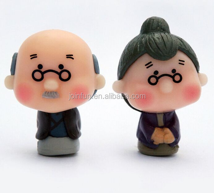 old couple pvc figure, diy movable vinyl figure, vinyl figure production