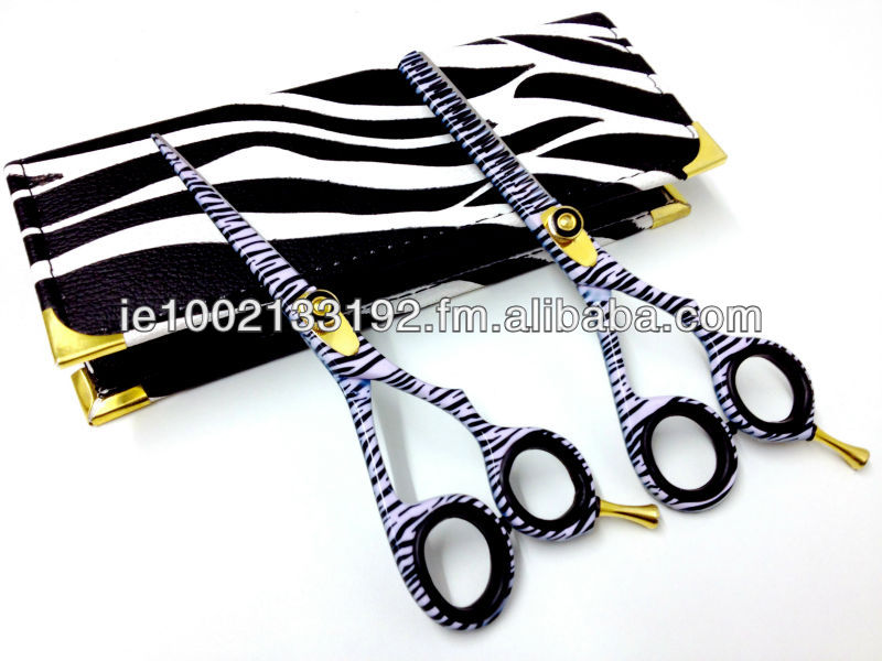 Barber Student Hair Scissors Set, Black & White Zebra Print, Razor Edge, Sturdy Convex Blades, Size 6""