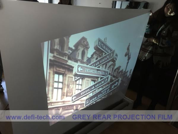 Adhesive back projection screen foil,holographic Light gray projection film,True colour reproduction from any angle.