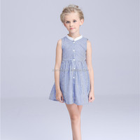 Trade assurance service knee length striped girls stylish frocks
