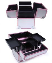Customized portable aluminum makeup box for ladies professional beauty cosmetics case