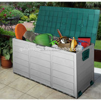 Large sundries storage container with lid, Patio plastic container, 290L house bin with wheels