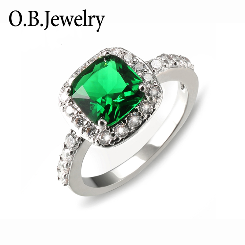 2018 Green stone ring latest silver emerald ring design for women