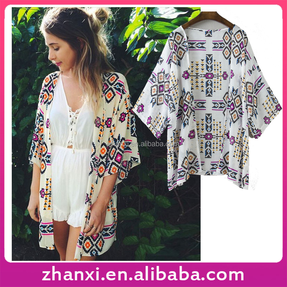 Diamond Check Print Sun Protection Chiffon Women Kimono Cardigan Coat Jacket
