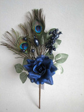 Christmas indoor decorations artificial velvet glitter rose flowers christmas pick with peacock feather