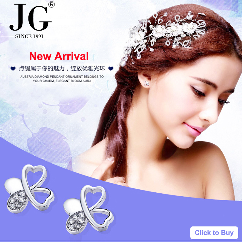 2017 latest new <strong>fashion</strong> 925 silver white Zircon Crystal CZ Diamond stud earrings women heart clover butterfly earrings for girls