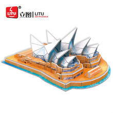 LITU 3D PUZZLE/EDUCATION world's famous landmark/architecture/building Sydney Opera Style No. 1448
