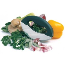 stainless steel mezzaluna double blades vegetable salad chopper for kitchen tool