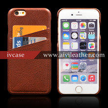 New Design Vintage Brown Full Grain Genuine Leather Hard Case For Iphone 6 Back Cover With Two Card Slots