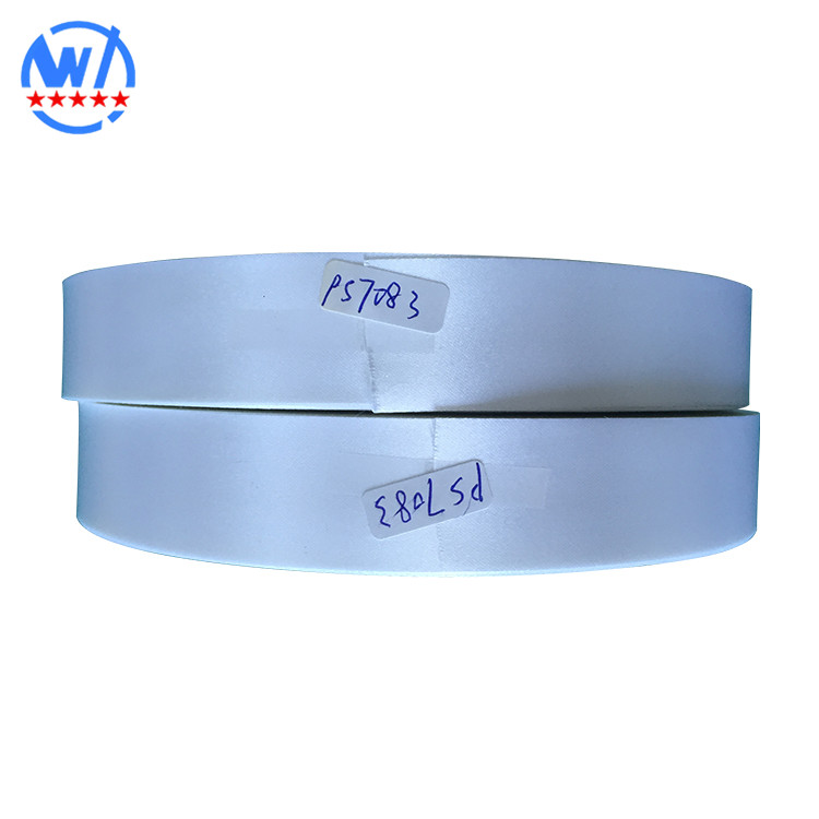 White Color double Side Woven 100% Polyester Satin Ribbon print label